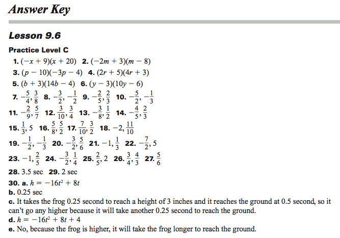 Glencoe algebra 1 worksheets answer key